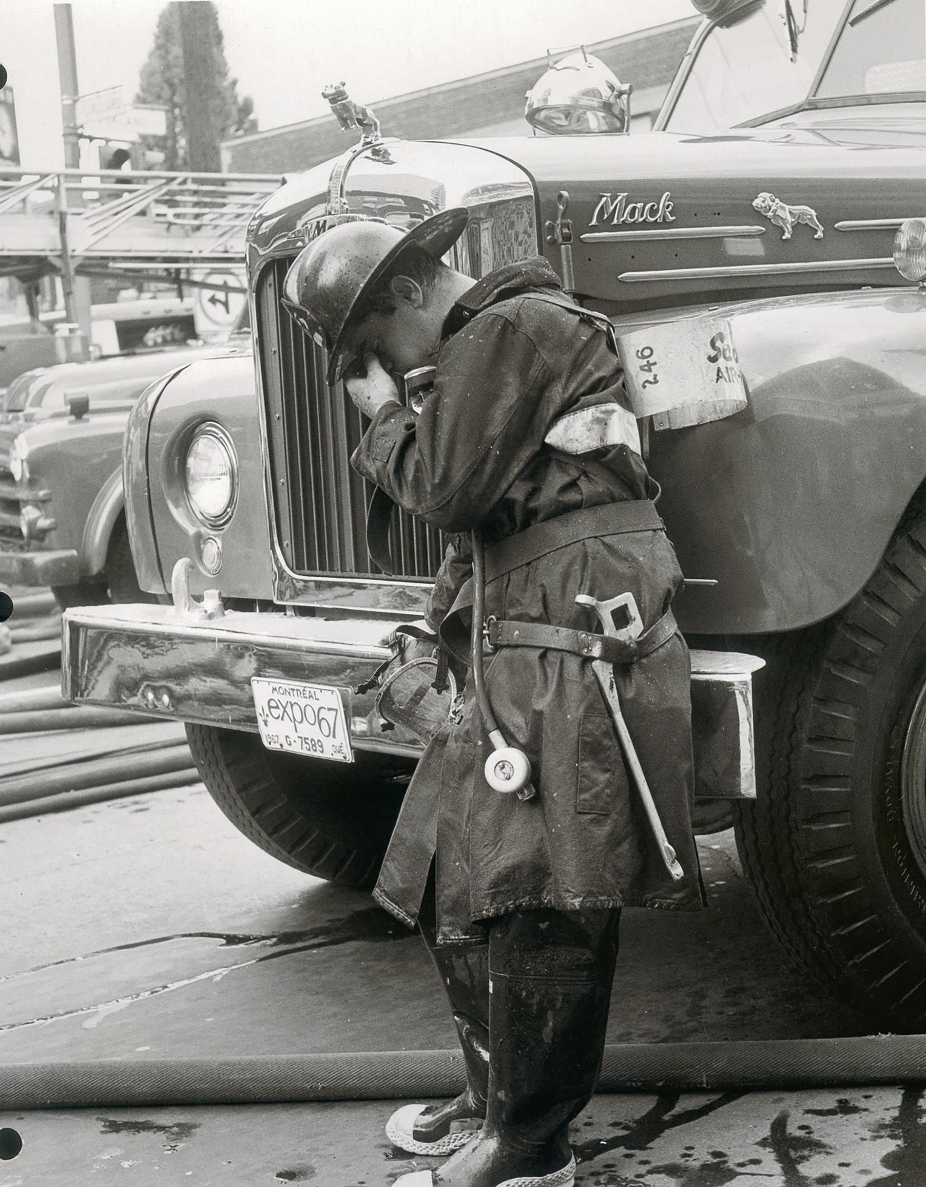Grieving firefighter